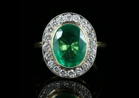 Emerald Diamond Engagement Ring 18ct Gold 7ct Natural Emerald front view