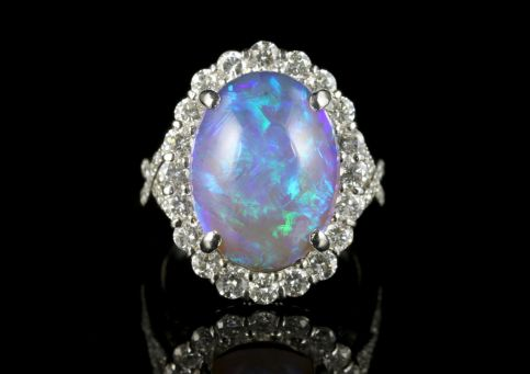 Black Opal Diamond Ring Platinum 16ct Black Opal front view