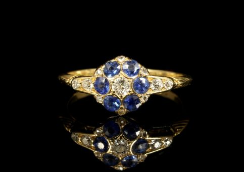 Antique Edwardian Sapphire Diamond Ring 18ct Dated 1911 front view
