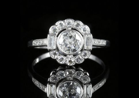 Diamond Engagement Cluster Ring 18ct White Gold 1.60ct Diamond front view
