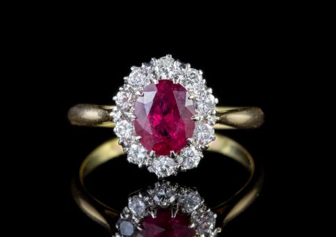 ANTIQUE EDWARDIAN RUBY DIAMOND RING 18CT GOLD PLATINUM CIRCA 1915 front