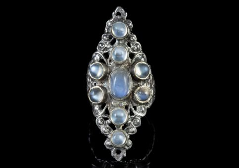 Austro Hungarian Moonstone Silver Large Marquise Ring Circa 1914 front