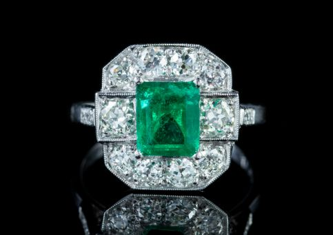EMERALD DIAMOND RING PLATINUM 1.80CT EMERALD 1.40CT DIAMOND front