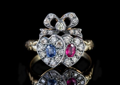 SAPPHIRE RUBY DIAMOND DOUBLE HEART RING 18CT GOLD front