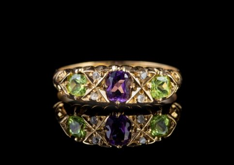 ANTIQUE EDWARDIAN SUFFRAGETTE RING 18CT GOLD DATED 1906 front
