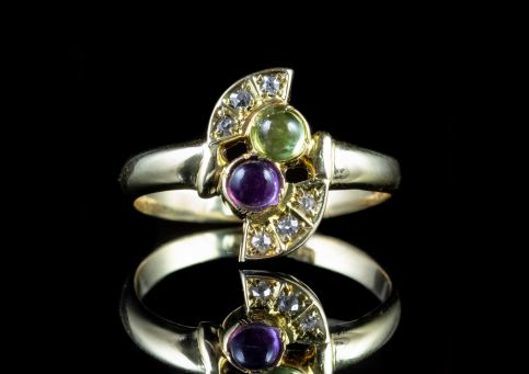 SUFFRAGETTE RING DIAMOND 18CT GOLD CIRCA 1920 Front