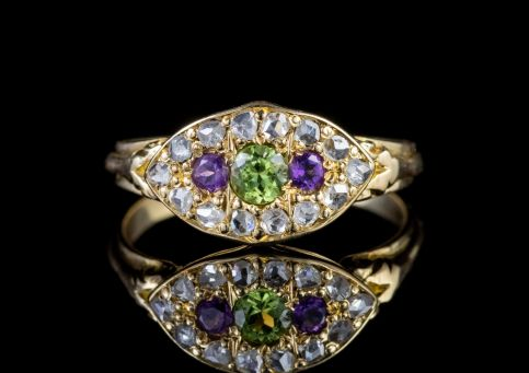 ANTIQUE SUFFRAGETTE EDWARDIAN DIAMOND AMETHYST PERIDOT RING CIRCA 1910 front