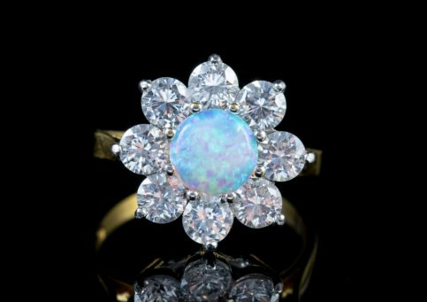 OPAL CLUSTER RING PASTE STONES 18CT GOLD ON SILVER Front