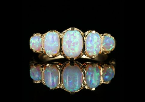 VICTORIAN STYLE OPAL FIVE STONE RING