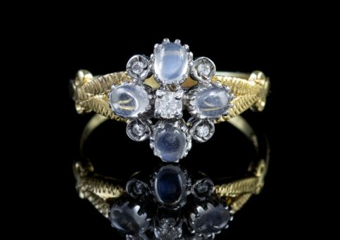 MOONSTONE CLUSTER RING DIAMOND PASTE STONE 18CT GOLD ON SILVER Front