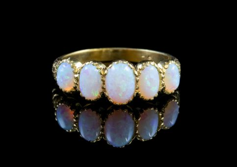 OPAL FIVE STONE RING 18CT GOLD ON SILVER