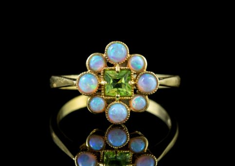 OPAL PERIDOT RING 18CT GOLD ON SILVER Front