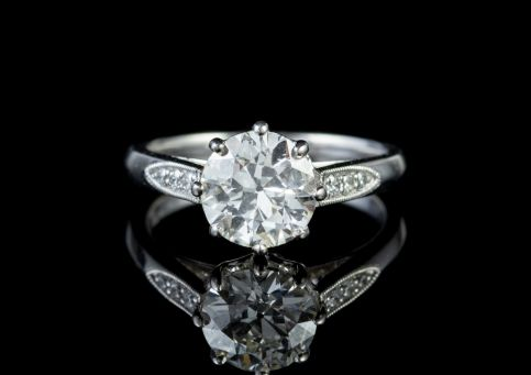 OLD CUT DIAMOND SOLITAIRE ENGAGEMENT RING PLATINUM 1.85CT DIAMOND  front