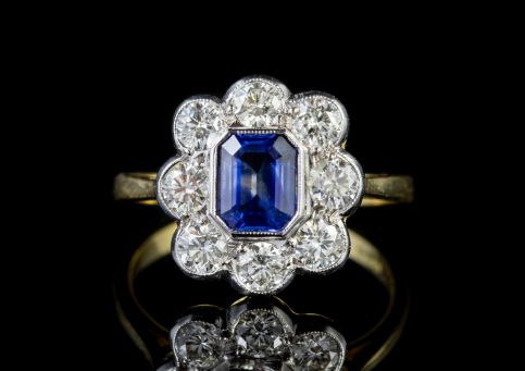 Sapphire Diamond Cluster Ring 18ct Gold 1ct Sapphire front