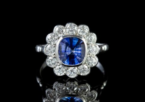 Sapphire Diamond Cluster Ring Platinum 1.80ct Sapphire  front