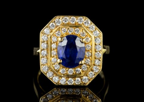 Vintage Sapphire Diamond Cluster Ring 18ct Gold 1.60ct Sapphire front