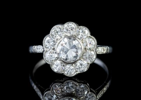 Antique Edwardian Diamond Cluster Ring 18ct Gold 1.80ct Of Diamond Circa 1915 front
