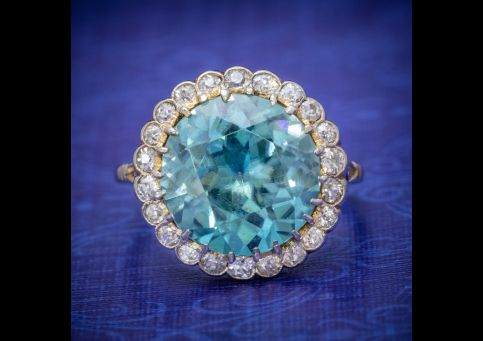 ANTIQUE_EDWARDIAN_8CT_BLUE_ZIRCON_DIAMOND_CLUSTER_RING_CIRCA_1905_cover