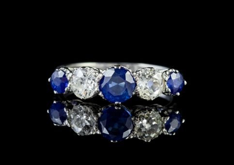 Sapphire Diamond Five Stone Ring Platinum FRONT