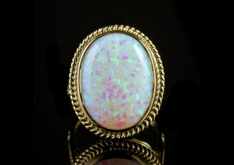 Large Opal Ring 9ct Yellow Gold front