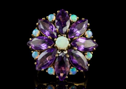 Vintage Amethyst Opal Cluster Flower Ring 9ct Yellow Gold front