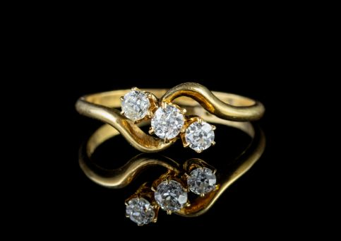 Antique Victorian Diamond Trilogy Ring 18ct Gold Circa 1900 front