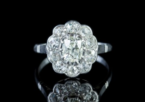 ANTIQUE EDWARDIAN 1.90CT DIAMOND CLUSTER RING 18CT WHITE GOLD CIRCA 1915 front