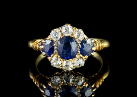Antique Victorian Sapphire Diamond Ring 18ct Gold Circa 1900 front