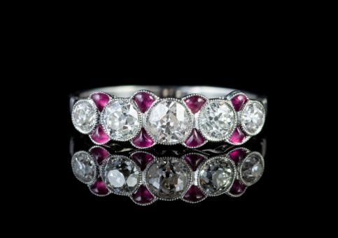 RUBY DIAMOND RING 18CT WHITE GOLD ETERNITY RING 0.85CT OLD CUT DIAMOND  FRONT