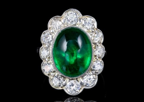 ART DECO 6CT NATURAL EMERALD DIAMOND RING 18CT GOLD CIRCA 1920 FULL CERT front