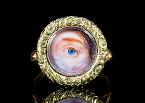 GEORGIAN ENAMEL LOVERS EYE RING 18CT YELLOW GOLD DATED 1986 front