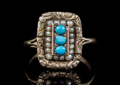 ANTIQUE GEORGIAN TURQUOISE PEARL RING 18CT GOLD CIRCA 1830 front