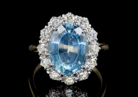ANTIQUE VICTORIAN AQUAMARINE DIAMOND RING 18CT GOLD PLATINUM CIRCA 1900 FRONT
