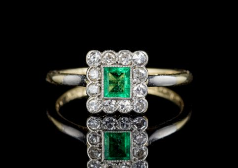 ART DECO EMERALD DIAMOND RING 18CT GOLD PLATINUM CIRCA 1920 FRONT