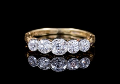 ANTIQUE EDWARDIAN 1CT DIAMOND FIVE STONE RING 18CT GOLD DATED 1910 FRONT