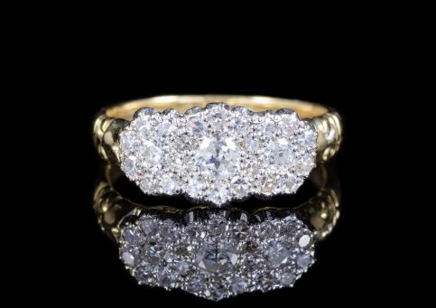 ANTIQUE VICTORIAN DIAMOND TRILOGY CLUSTER RING 15CT GOLD CIRCA 1900 front