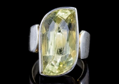 BRIOLETTE CUT CITRINE RING STERLING SILVER 13CT CITRINE front