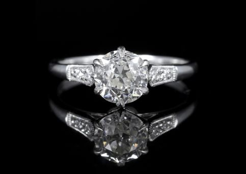 Antique Diamond Solitaire Engagement Ring 1.50ct Diamond Vvs1 front view