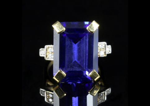 CZ TANZANITE PASTE RING GOLD ON SILVER front