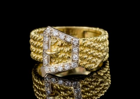 VINTAGE DIAMOND BUCKLE RING SOLID 18CT GOLD  front