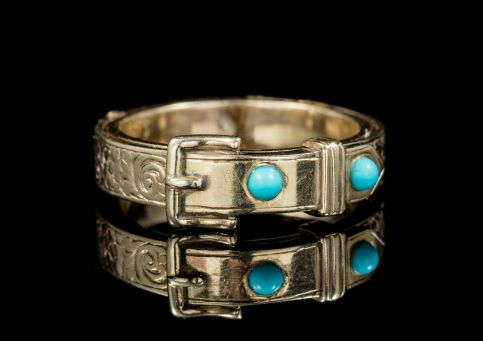 ANTIQUE GEORGIAN MOURNING TURQUOISE BUCKLE RING 18CT GOLD CIRCA 1800 front
