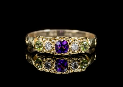 ANTIQUE SUFFRAGETTE AMETHYST DIAMOND PERIDOT RING VICTORIAN CIRCA 1900 front