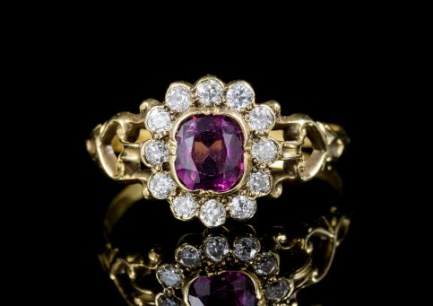 ANTIQUE FRENCH VICTORIAN AMETHYST DIAMOND CLUSTER RING 18CT GOLD CIRCA 1860 FRONT