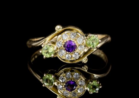 ANTIQUE VICTORIAN FANCY SUFFRAGETTE CLUSTER RING 18CT GOLD CIRCA 1900 front