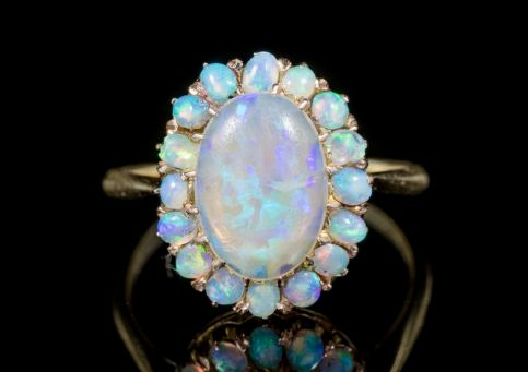 ANTIQUE VICTORIAN NATURAL OPAL CLUSTER RING 18CT GOLD CIRCA 1900 front