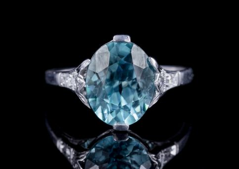 ANTIQUE EDWARDIAN BLUE ZIRCON DIAMOND RING 18CT WHITE GOLD 4.43CT ZIRCON CIRCA 1910 front