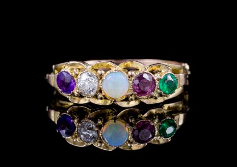 ANTIQUE VICTORIAN GEMSTONE ADORE RING 18CT GOLD CIRCA 1900 front