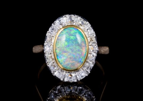 ANTIQUE FRENCH EDWARDIAN OPAL DIAMOND RING 18CT GOLD PLATINUM CIRCA 1915 front