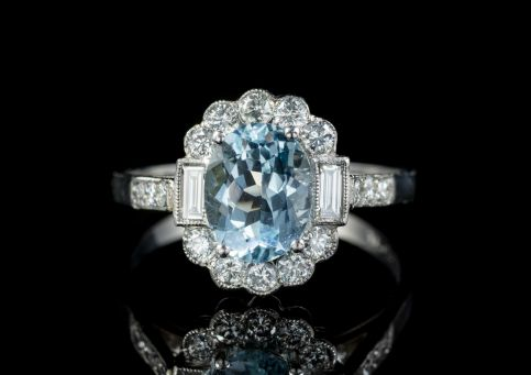 AQUAMARINE DIAMOND CLUSTER RING PLATINUM 18CT GOLD ENGAGEMENT RING front