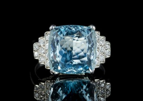 AQUAMARINE DIAMOND RING PLATINUM 8CT AQUA ENGAGEMENT RING FRONT